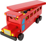 Houten school Bus - Rood_
