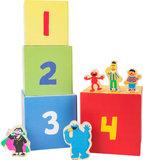 Houten blokken stapelen - SESAMSTRAAT - Koekie monster, de graaf, Ernie, Bert en Elmo - FSC_