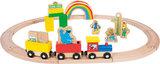 SESAMSTRAAT houten treinset - 27 stuks_