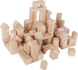 Houten blokken + handige tas - blank - 100 stuks_