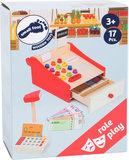 Speelgoed kassa met geld en bon papier_