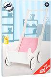 Houten poppenwagen met matras - wit/roze - Rubberen wielen_