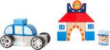 Bouwset met geluid - Politie auto, politieman + Politiebureau_