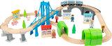 Junior collectie - complete houten treinbaan met brug_