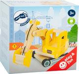 Houten graafmachine truck - Geel_