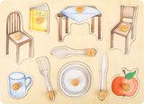 Dagelijkse objecten noppenpuzzel - hout_