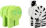 Houten dieren -  2 stuks - Zebra + krokodil_