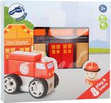 Bouwset met geluid - Brandweerauto, brandweerman + brandweer kazerne_