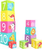 Stapel kubussen en getallen - wilde dieren_