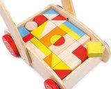 Kleurrijke blokkenkar - 33 delig - beukenhout_