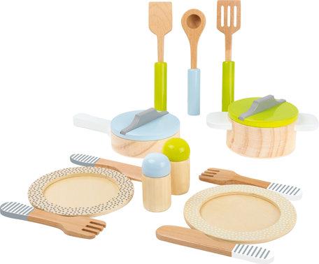 Kookgerei voor in de speelkeuken (15 stuks)
