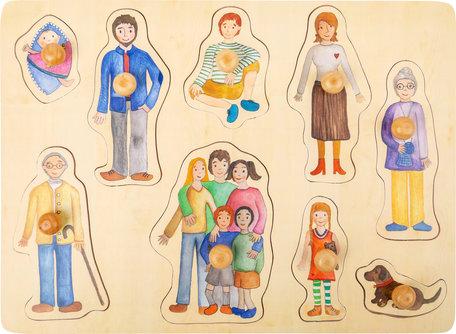 Family en vrienden noppenpuzzel - hout