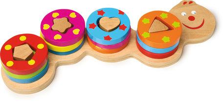 Vormen sorteren + blokken stapelen - Puzzel - Rups