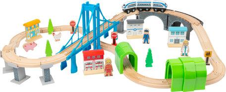 Junior collectie - complete houten treinbaan met brug