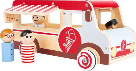 Houten ijsco truck - wit/rood