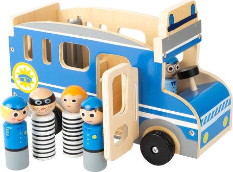 Houten politie auto XL - blauw/wit