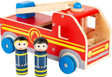Houten brandweer auto XL - Rood