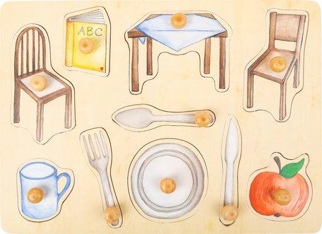 Dagelijkse objecten noppenpuzzel - hout