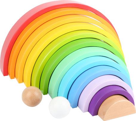 Houten bouwblokken regenboog XL