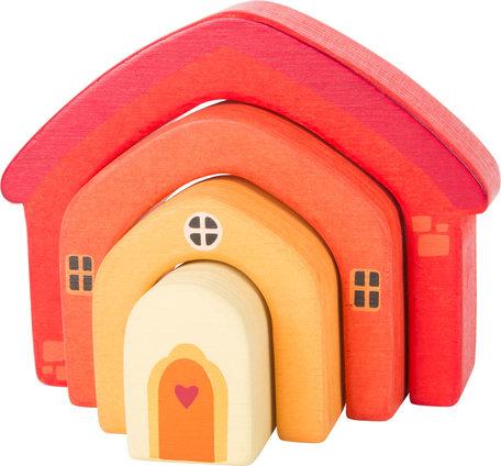 Houten bouwblokken - Huis - Multikleuren