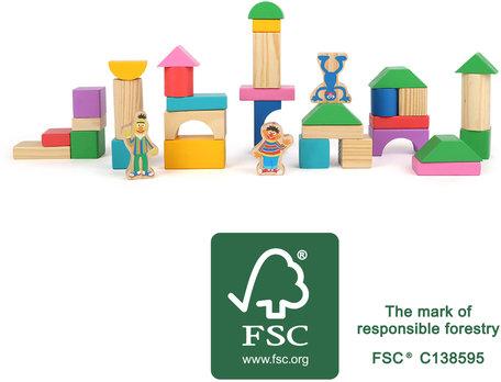Houten bouwblokken SESAMSTRAAT - Ernie, Bert & Grover - FSC