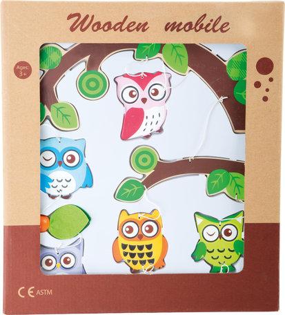 Houten mobiel - Uiltjes