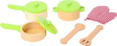 Houten kookset voor speelkeuken