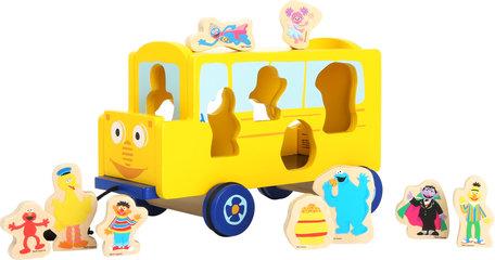 Trekfiguur SESAMSTRAAT - Bus - geel - FSC