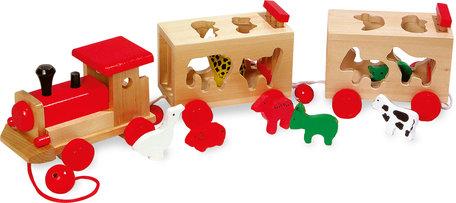 Vormenstoof + Trekfiguur houten dierentrein