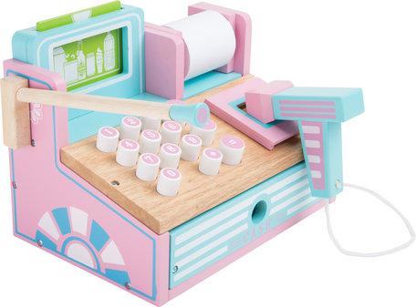 Houten speel kassa - roze