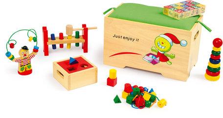 Speelgoed box - 6 houten spellen