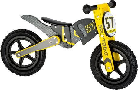 Loopfiets motorcrosser - Geel - grijs