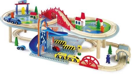 Treinbaan met twee verdiepingen en accessoires - 64 stuks - spoorwegen