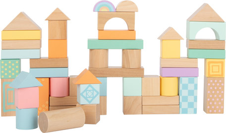 Pastel houten bouwblokken - 50 stuks