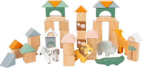 Dieren houten bouwstenen - 50-delige set