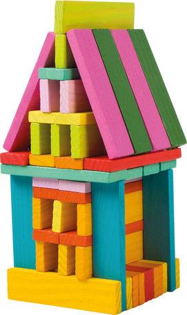 Houten stapelblokken - 75 stuks - Multi kleuren