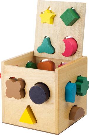 Houten vormenstoof kubus - Multi kleuren