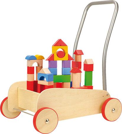 Blokkenkar - Rubberen bandjes - leren lopen en leren bouwen!