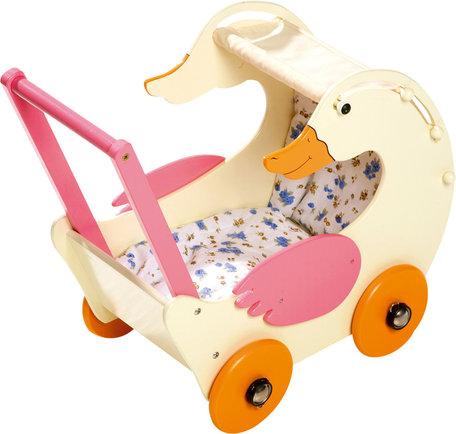 Houten poppenwagen - Gerda de gans