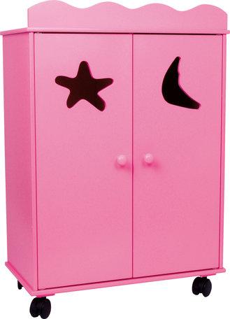 Poppen garderobe kast - roze