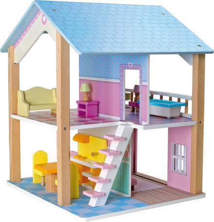 Poppenhuis - 2 verdiepingen en draaibaar + 15 meubels