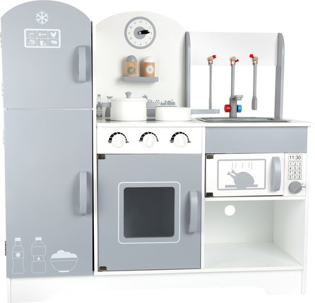Houten speelkeukentje met koelkast
