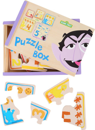 Puzzelbox van SESAMSTRAAT - 5 puzzels - FSC