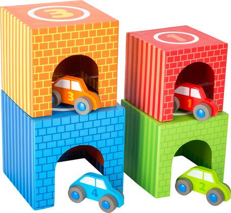 Auto parkeren - Multi kleuren - 4 auto's + 4 garages!