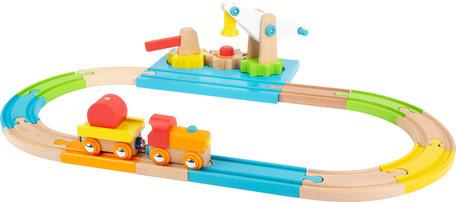 Junior collectie - houten treinbaan met hijskraan