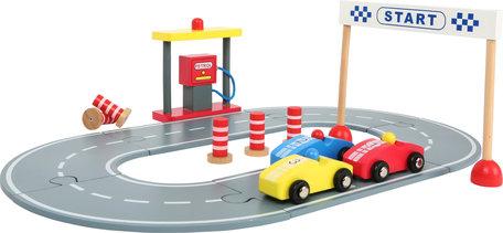 Houten racebaan met speelset - Geel