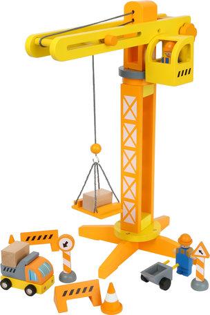 Houten bouwkraan truck - Geel