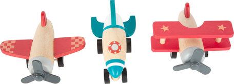 Houten vliegtuigen set - opwindbaar