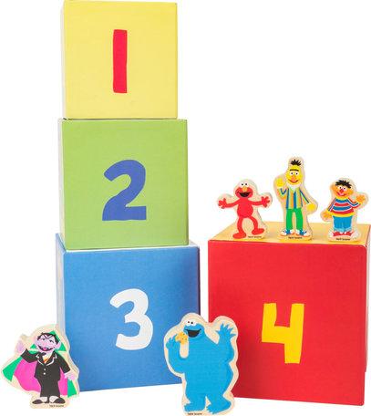 Houten blokken stapelen - SESAMSTRAAT - Koekie monster, de graaf, Ernie, Bert en Elmo - FSC