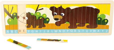 Puzzel leer het alfabet - familie beer